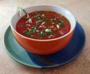 Schnelle Frühlings Tomatensuppe mit Bärlauch vegan kochen