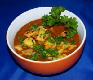 Würzig saure Pilzsuppe mit Bratkartoffeln vegan kochen